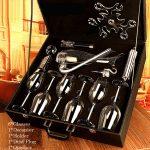 10pcs Decanter + Glasses + Holder + Opener + Dust Plug Set(Leather Case)